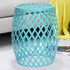 Adeco Trading Home Garden Accent Wire Round Stool Sky Blue