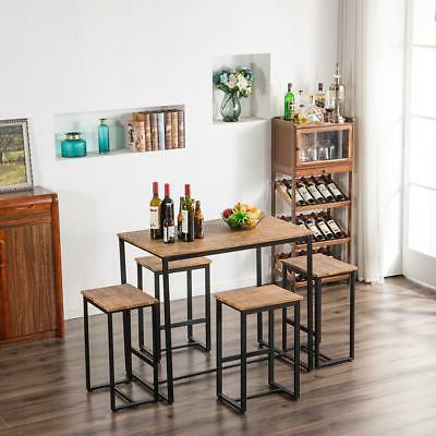 Hot 5 Piece Table Set 4 Chair Wood Dining Furniture Walnut
