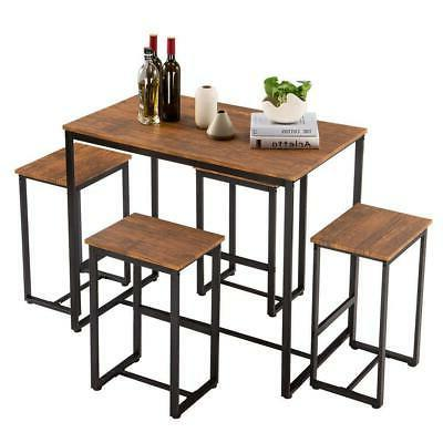 Hot 5 Dining Set 4 Chairs Room Breakfast Furniture NEW