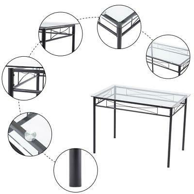 Hot 5 Piece Metal 4 Glass Dining Room