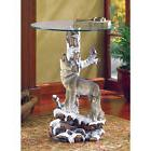 HOWLING WOLF AND CUB GLASS TOP END TABLE ACCENT FURNITURE HO