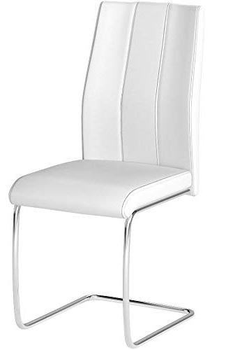 "Monarch Specialties I 2 Dining CHAIR-2PCS/ 39"" Leather-Look/Chrome, 17.25"" x 20.25"" 38.75"""