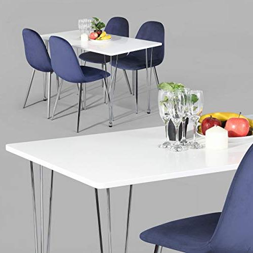HOMY CASA White Table Chrome Plated for Dining