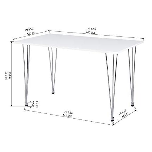 HOMY CASA Ihouse Rectangle White Table with Chrome Dining and
