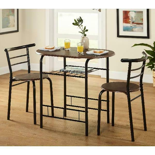 Table & 2 Chairs Dining Set Furniture Gray TMS New!