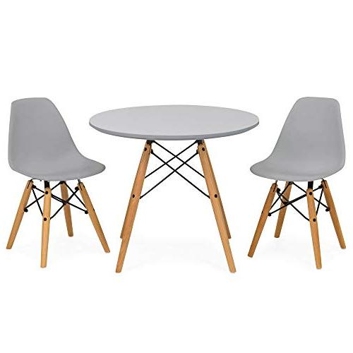Best Kids Dining Round Table Set 2 Wood Gray