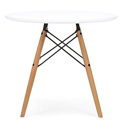 Best Products Kids Mid-Century Modern Eames Dining Round Table Set w/ 2 Chairs - White
