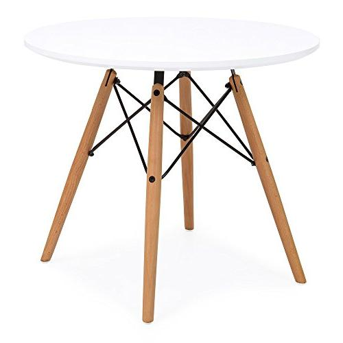 Best Products Mid-Century Modern Eames Dining Round Table Set Chairs