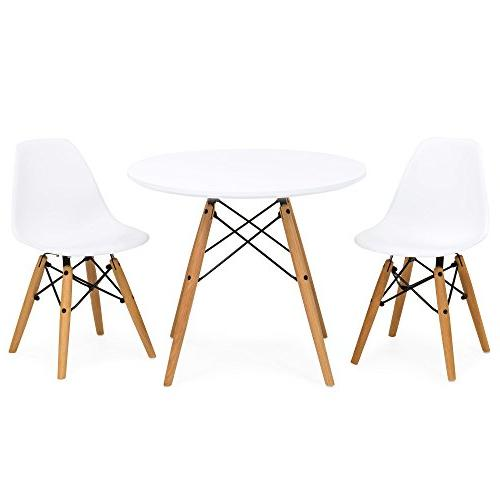 Best Products Mid-Century Modern Style Dining Set w/ 2 Armless Chairs White