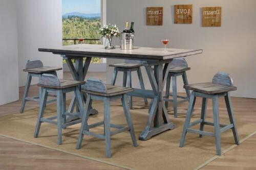 Kings Brand Arland Grey/Blue 7-Piece Counter Height Dining S