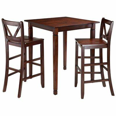 Winsome Kingsgate 3-Piece Dining Table Set with V-Back Barst