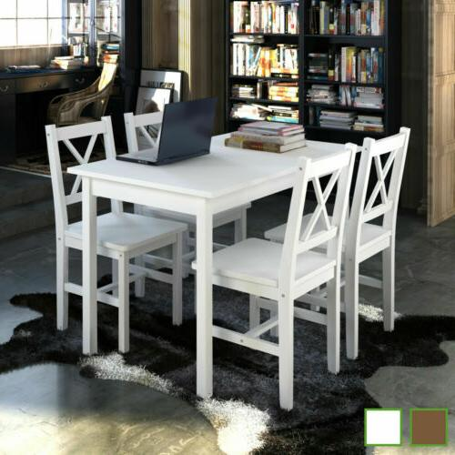 5 Piece Kitchen Dining Set Wooden Furniture Lacquered Table