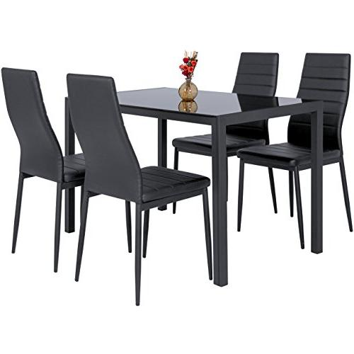Best Products Piece Kitchen Dining Set W/Glass Top 4 Chairs Dinette