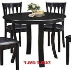Round Dining Table Kitchen Room Black Modern Pedestal Breakf