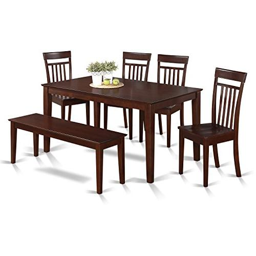 6 Piece Kitchen Table With Bench Set - Table And 4 Kitchen C