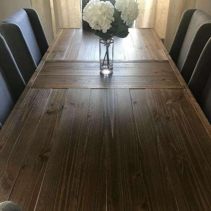 Large Rustic Expandable Dining Room Table Farmhouse Design C