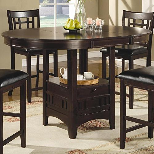 Coaster Home 5 Dining Set with with Leaf and 4 Chairs Cappuccino