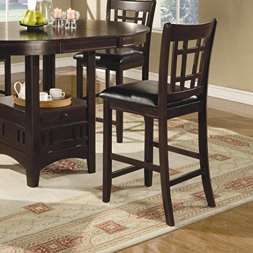 Coaster Furnishings Lavo 5 Counter Dining Set Table with Extension 4 Chairs , in Cappuccino