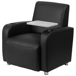 Leather Guest Chair, Black/Light Gary
