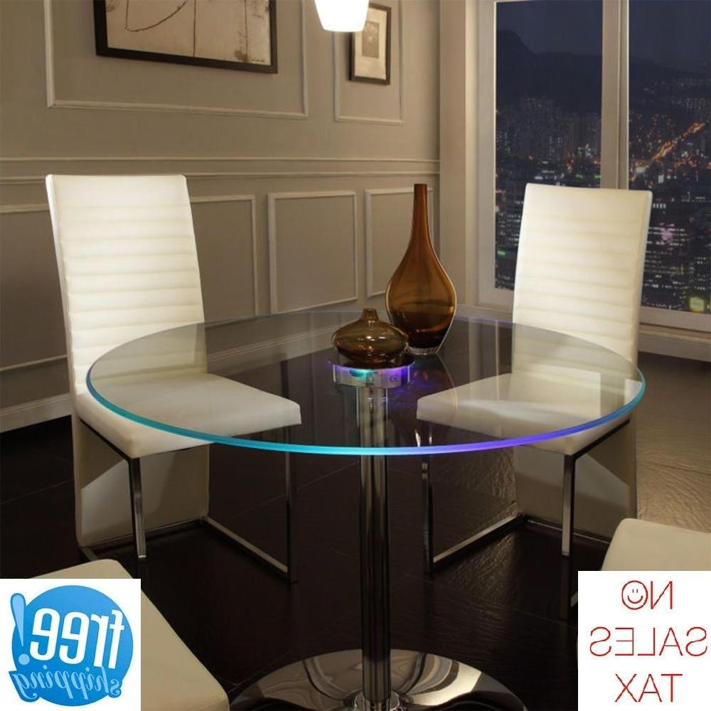 LED Dining Table Lighted Glass Round Large Modern Unique Hom