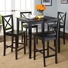 5-piece Wood Dining Set Black Counter Height Table And Cross