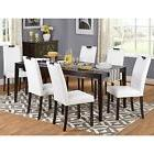 Simple Living Tilo White Faux Leather And Wengewood 7-piece