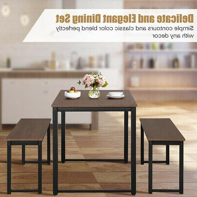 Modern 3 Piece Dining Table Benches