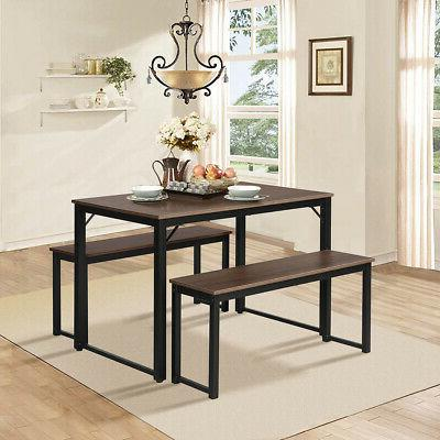 Modern 3 Piece Set Soho Dining Table Benches
