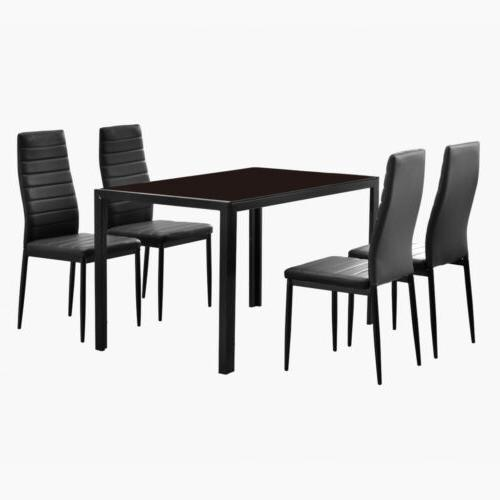5 PCS Modern Dining Table Set Glass Top and 4 Leather Chair