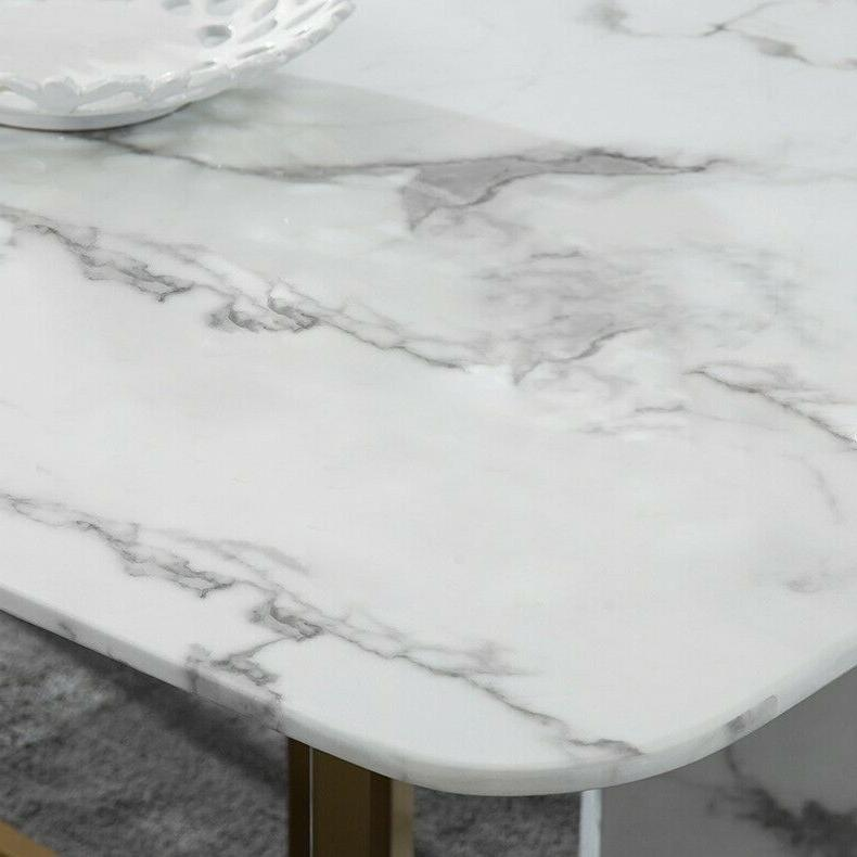 """Homary 79"""" Faux Marble Table 6-8 Gold"""