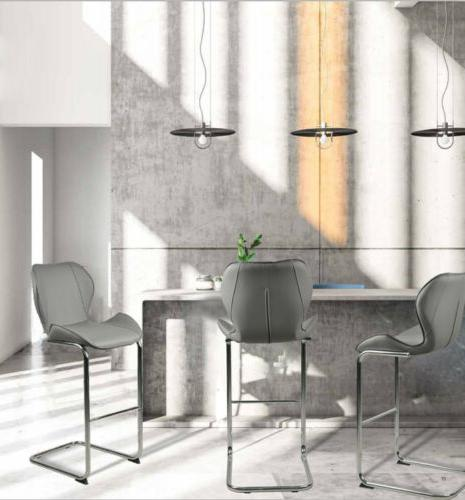 Modern Dining Pub Leather Gray