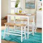 Counter Height Dining Set White 4 Piece Modern Farmhouse Tab