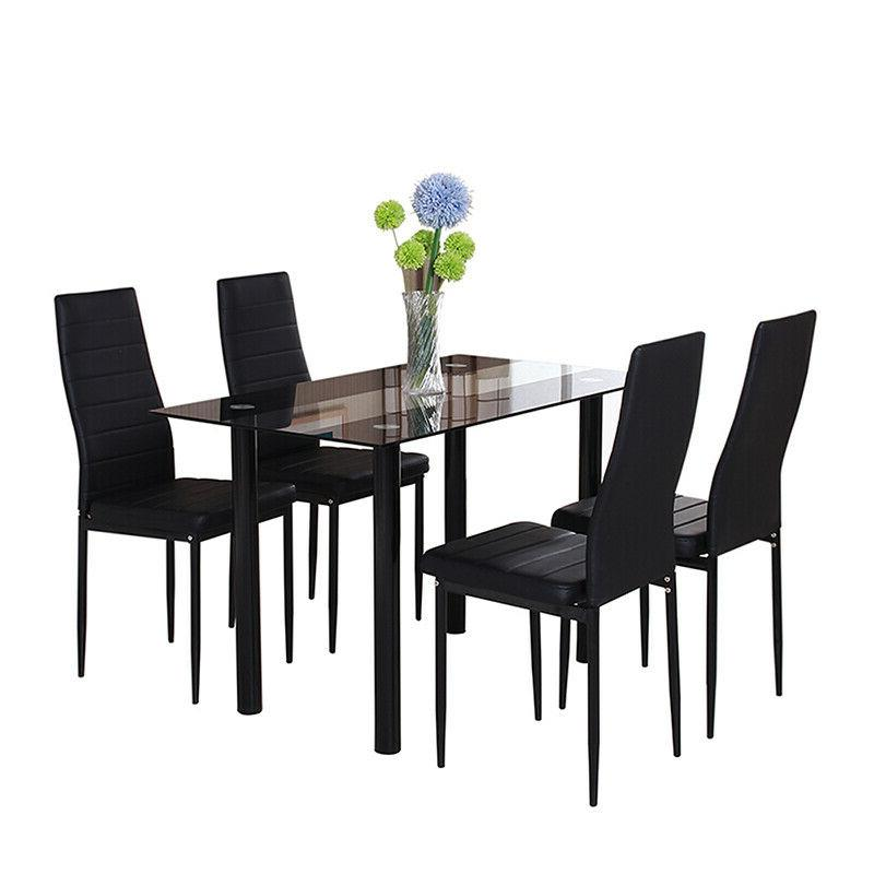 Modern Glass Dining Table Kitchen Metal Home
