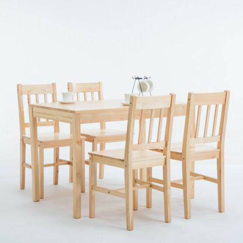 Modern Wood Dining Set Table and 4 Room