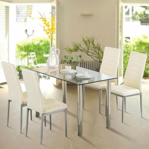 modern rectangular glass surface dining table kitchen