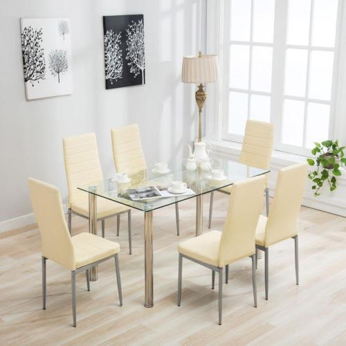 7 Piece Glass Dining Table Set 6 Chair Breakfast Kitchen Din