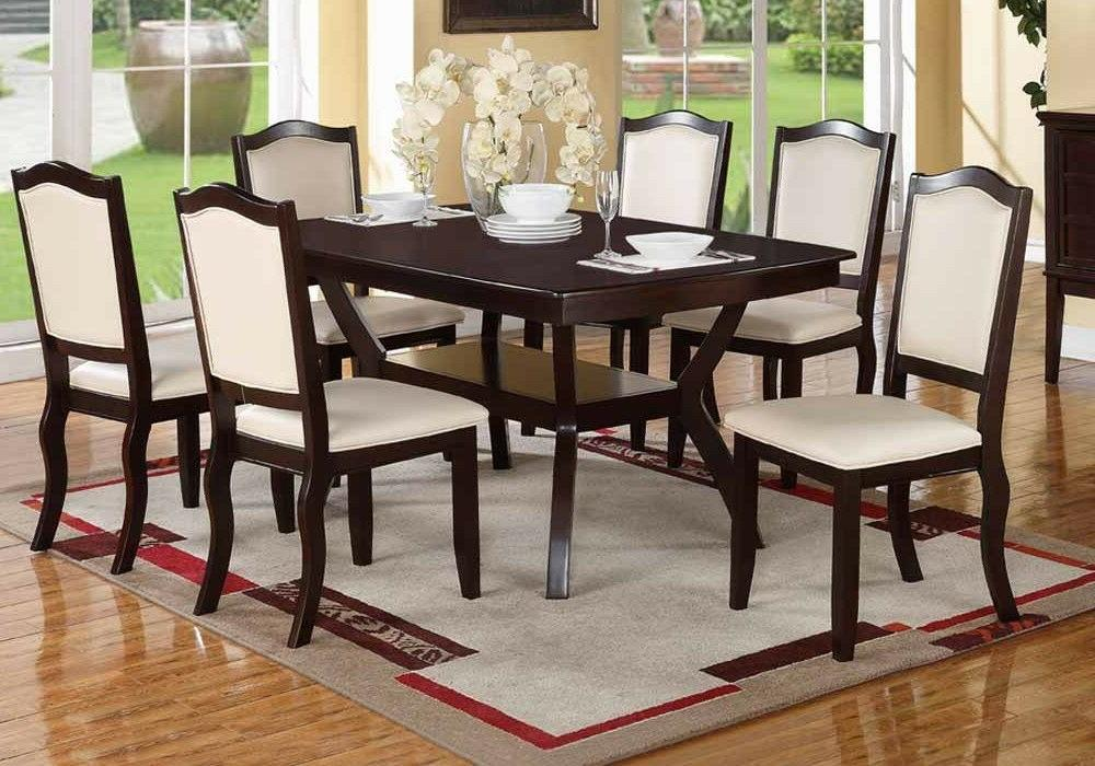 Modern Rectangular Wood 7 pieces Dining Set / Table and Chai