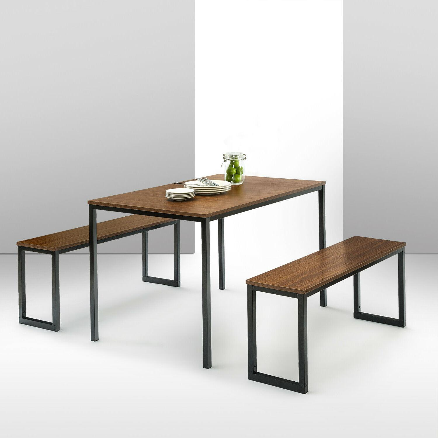 Modern Dining Table with Two Benches