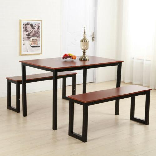 Modern Dining Table / 2 Benches Chair Kitchen Furniture Rect