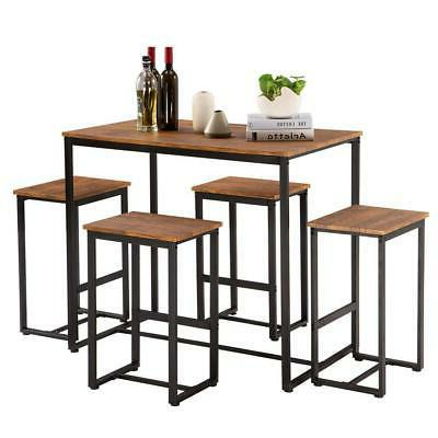 new 5 piece metal dining table set