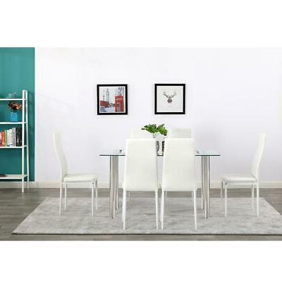 Hot 7 Piece Table 6 Glass Metal Kitchen Furniture White