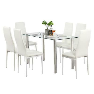 Hot Table 6 Chairs Glass Furniture