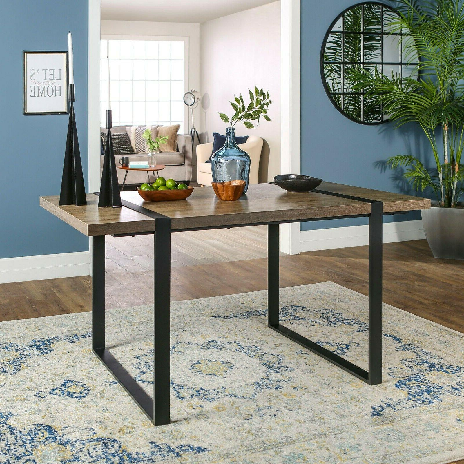 NEW Driftwood Modern Industrial Style Dining Room Table Meta