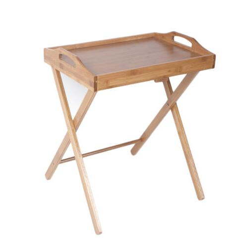 Bamboo Folding Wood TV Tray Dinner Table Coffee Stand Servin