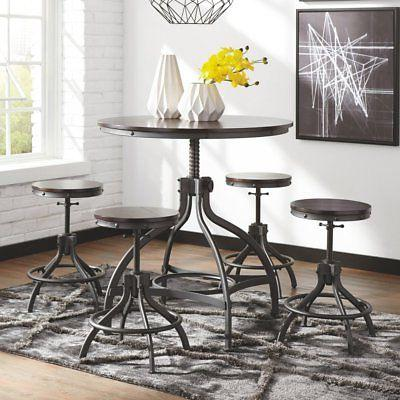 odium 5 piece adjustable height dining table