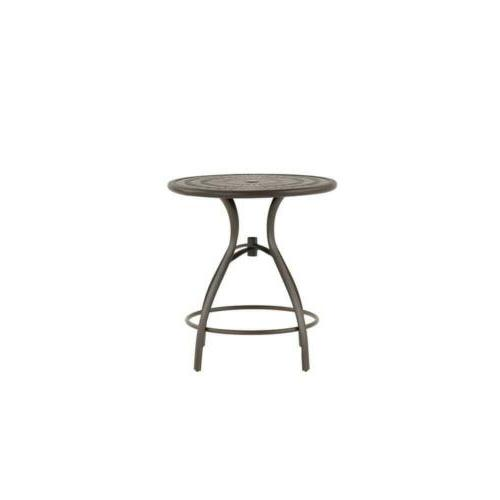 outdoor dining table steel balcony height round