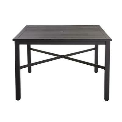 Outdoor Table with Slat Black Metal Person