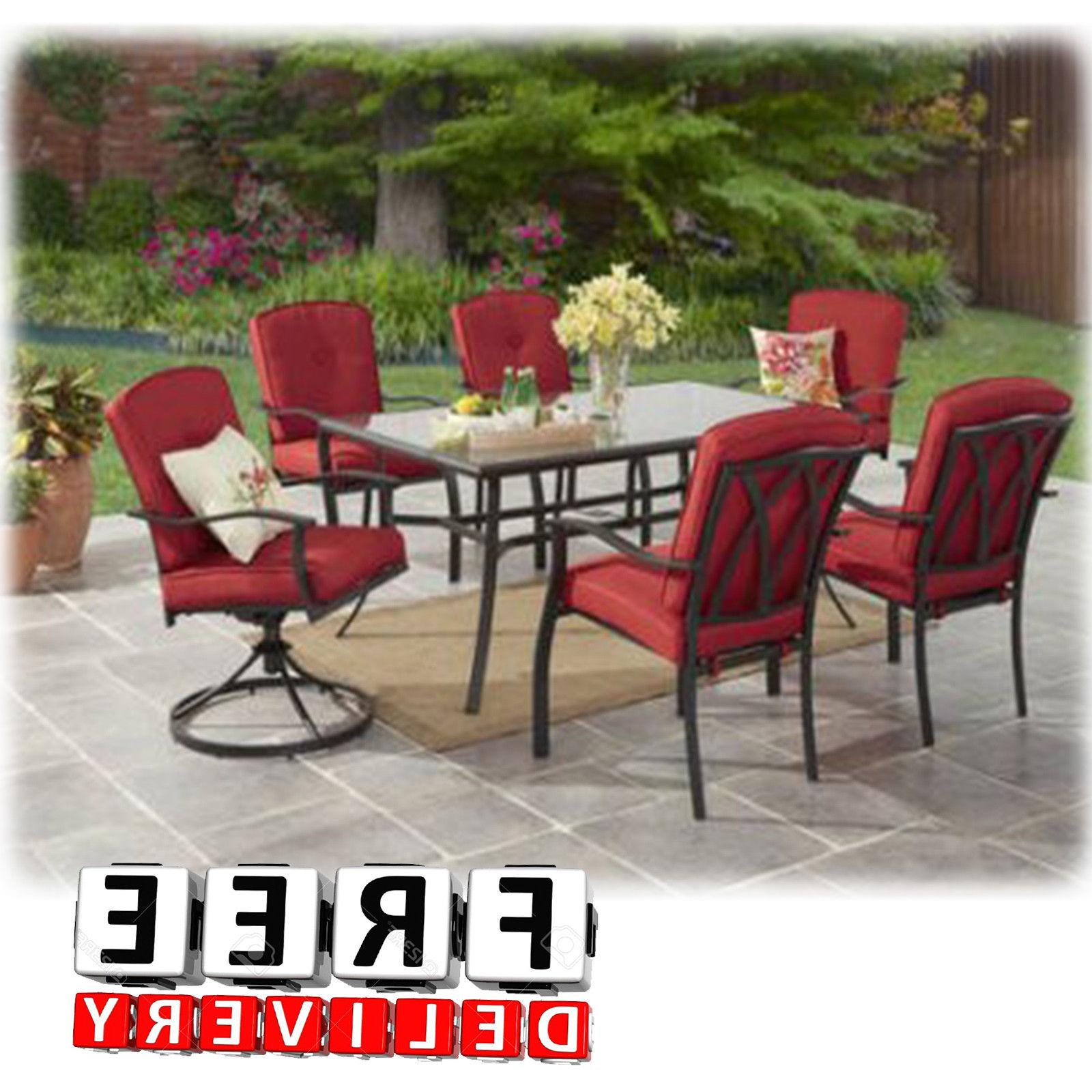 Outdoor Patio Dining Furniture Set 7 Piece Table Chairs Lawn