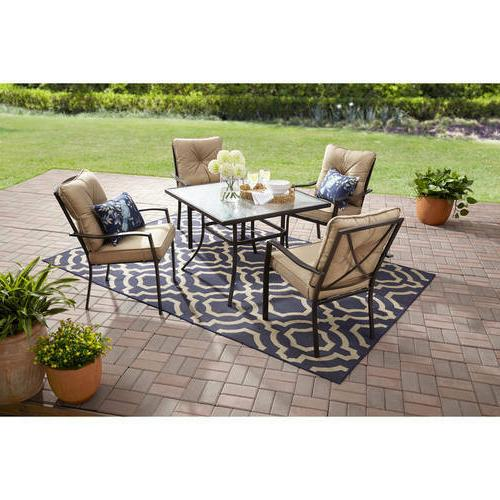 Outdoor Patio Dining Set, Cushioned Metal 5 Piece, Tan