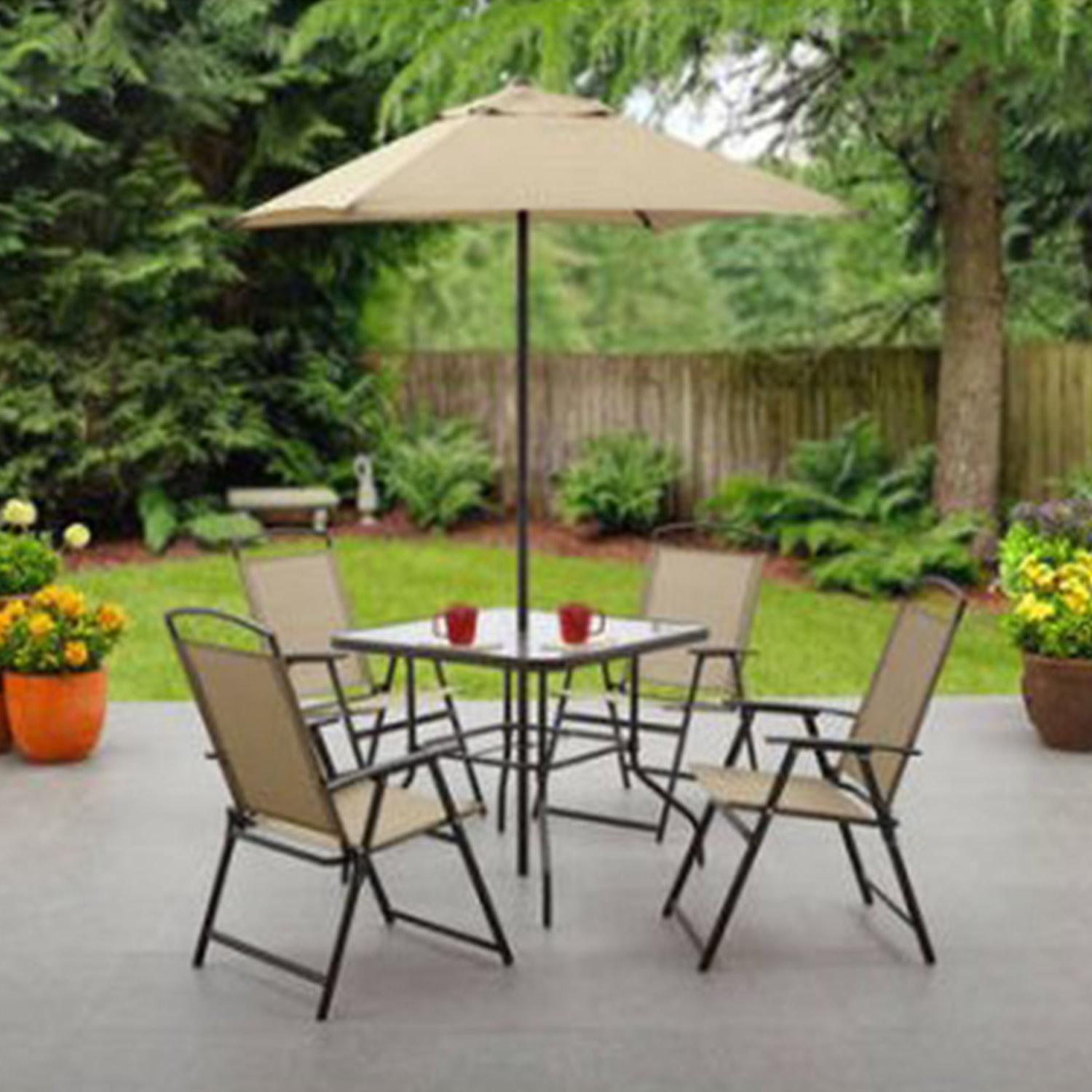 6 Piece Patio Dining Set Folding Table Chairs Umbrella Outdo